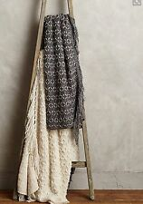 NWT $198 ANTHROPOLOGIE NIGHT FALL FRINGE CHARCOAL THROW BLANKET  50x70