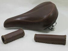 RETRO/VINTAGE STYLE BROWN SADDLE WITH MATCHING STITCHED HANDLEBAR GRIPS