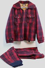 Woolrich Woolen Mills Red & Black Plaid Wool Hunting Suit Jacket & Pants