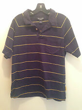 Abercrombie & Fitch Short Sleeve Polo Shirt Navy Blue w/ Yellow Stripes Size M