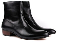 Classic New Real leather Men's Ankle boots Formal shoes Zip Up brown or Black