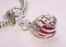 Caged Red Crystal January Birthstone Dangle Bead for European Charm Bracelet