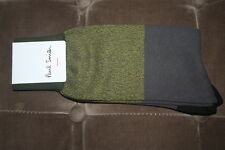 Paul Smith Men's Socks Fine Cotton Casual Green Grey Gray Stripe NWT NEW 2017