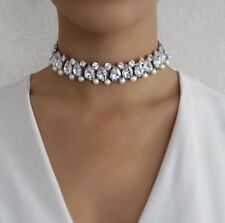 Luxury pearl rhinestone encrusted statement choker necklace with silver base