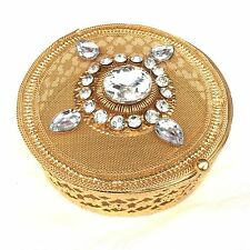 Metal Gift Box Gold Circle Mesh Gem Jewellery Sweet Present Container 12x12x5cm
