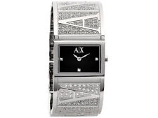 **NEW** LADIES ARMANI EXCHANGE AX BLACK CRYSTAL BANGLE WATCH - AX4050 - RRP £169