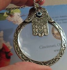 HAMSA MAGNIFY MAGNIFYING GLASS SILVER HAND OF FATIMA PENDANT NECKLACE