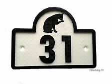 Cat House Door Number Plaque -Garden Gate Sign (0 to 9999) - W/B
