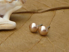 Genuine Austrian Crystal Pearl Surgical Stainless Steel Studs 6mm ~ Rose Gold