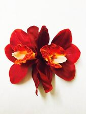Rockabilly Bridal 50s Pin Up Deep Red double orchid hair flower clip