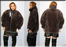New Reversible Grey Sheared Beaver Fur and Leather Jacket Size Large 10 12 L