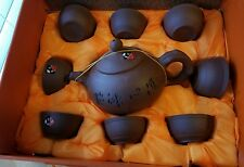 10 piece Oriental Terracotta Pottery Hot  Tea Set for 8 Brown Clay Pottery NIB