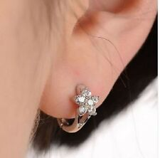 SILVER, PLATINUM PLATED CZ CRYSTAL FLOWER HUGGIE HOOP EARRINGS