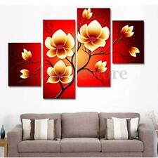 4PCS On Canvas Modern Abstract Oil Painting Flowers Huge Wall Decor Art No Frame