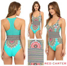 RED CARTER * RENAISSANCE * MESH T- BACK ONE PIECE SWIMSUIT   Sz L  NEW   $ 185