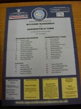 08/02/2003 Colour Teamsheet: Wycombe Wanderers v Huddersfield Town  (Folded). Th