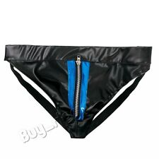 Mens Faux Leather Zipper Pouch Bikini Briefs Jockstrap Gay Underwear Shorts XL