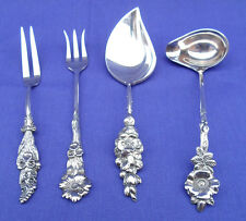 "4 PIECES VINTAGE REED & BARTON SILVER PLATE ""HARLEQUIN"" FLORAL CONDIMENT SET"