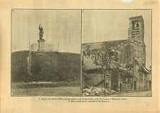 WWI Statue Jeanne d'Arc Beaulieu Oise / Cathédrale de Soissons 1917 ILLUSTRATION