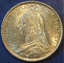 1887 6d Victoria Obv 2 withdrawn silver Sixpence - Brilliant Uncirculated