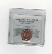 **1967 Dbl Obv Lett.**,Coin Mart Graded Canadian, Small One Cent, **MS-64**