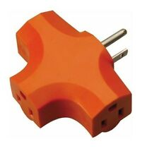 3 Way Outlet Wall Plug DURABLE Adapter (T Shaped Wall Tap) 3 Prong Orange NEW !
