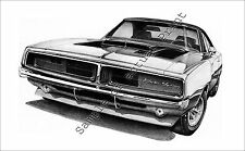 "Beautiful 1969 Dodge Charger RT 11"" x 17"" drawing picture print  69"