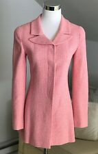 Chanel Wool Blend Blazer Fitted Jacket Suit Coat Pink Ivory Tweed 36 S EUC NR!