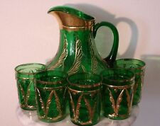Victorian Antique Dugan Emerald Green Waving Quills Filigree Lemonade Set Rare!