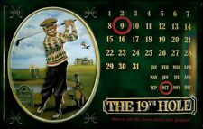 19TH HOLE GOLF CALENDAR Vintage Metal Pub Sign | 3D Embossed Steel | Home Bar