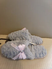 CHARTER CLUB WOMENS SLIPPERS GRAY  & PINK FUR SCUFFS SLIDES BOWS SIZE SMALL 5 6