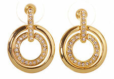 Swarovski Elements Crystal Circle Mini Pierced Earrings Gold Plated New 7136w