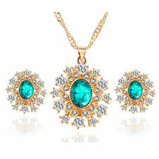 Stunning Green 18k Gold Plated Diamante Crystal Necklace Pendant and Earring Set