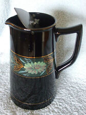 ANTIQUE ART NOUVEAU JACKFIELD BLACK LEAD GLAZED JUG RARE SELF CLOSE PEWTER  LiD