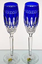 2 Waterford Clarendon Cobalt Blue Cut to Clear Crystal Wine Champagne Flutes New