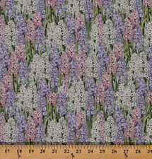 Cotton Primrose Lane Hyacinths Flowers Floral Fabric Print by the Yard D481.18