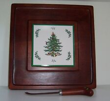 Spode Christmas Tree Square Serving Tray with Knife New in Box