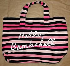 "Victoria's Secret Pink & Black Striped ""Hello Bombshell"" Weekend Beach Tote Bag"