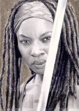 Walking Dead Michonne Danai Gurira ACEO Sketch Card original pencil art Wu Wei