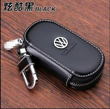 NEW Genuine Leather cowhide Car Key Holder Keychain Ring Case Bag For Volkswagen