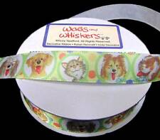 """4 Yds HTF Dogs Cats Pet Wags and Whiskers Suzy's Zoo Satin Ribbon 5/8""""W"""