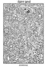 "DOODLE POSTER ""Fairyland"" - Massive A1 (84cm x 59cm) Colouring In Poster"