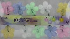 Sienna 10 Sparkle Pink Blue Yellow Colorful Flower String Lights Green Wire NIB