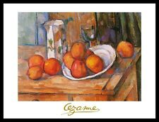 Paul Cezanne Kanne Glas und Teller mit Früchten Poster Kunstdruck & Rahmen 24x30
