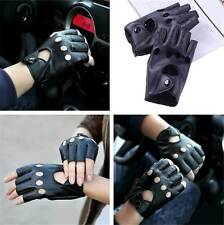 FASHION MEN WOMEN PU LEATHER FINGERLESS GLOVES BIKERS TRAINING CYCLING USE BLACK