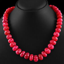 627.90 CTS EARTH MINED RICH RED RUBY ROUND SHAPED CARVED BEADS NECKLACE STRAND