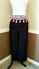 NWT Modcloth Swim Cover-Up Pants L Black w/ Bright Tassels Boho Wide Leg Z&L
