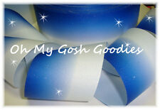"3"" GLITTER ROYAL OMBRE CHEER GROSGRAIN RIBBON FOOTBALL 4 TIC TOC HAIRBOW BOW"