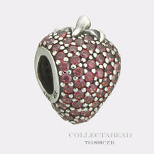 Authentic Pandora Sterling Silver Red CZ Pave Strawberry Bead 791899CZR