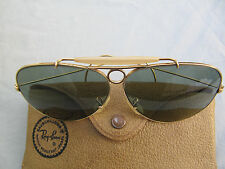 VINTAGE B&L RAY BAN SHOOTING GLASSES 12KGF AVIATOR Bullet Hole USA Green